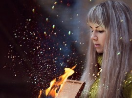 Girl Box Fire Photo hd Wallpaper
